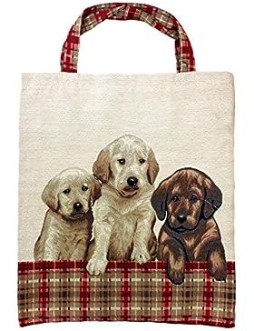 Einkaufstasche, Stofftasche Leinen 40 x 32cm, Motiv Retriever Welpen Hunde, Einkaufsbeutel Gobelin-Stil