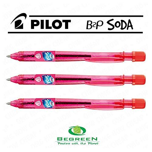 Pilot Soda B2P Kugelschreiber, einziehbar,-Strawberry Rot-[3Stück] -