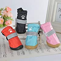 HVTKL Dog shoes waterproof shoes puppies golden hair reflective shoes cover Teddy puppy than bear dog small and medium dog pet rain boots (Size : Number 5)