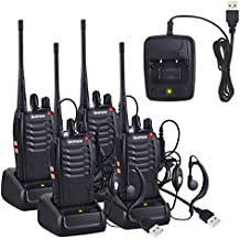 Neoteck Walkie Talkie 4 Piezas UHF 400-470MHz Walkie con Auriculares Originales 16CH de Banda Única FM Transceptor de Mano con LED Recordatorio de Voz para Campo Bicicleta y Senderismo
