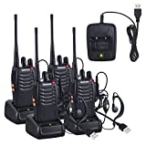 Neoteck 4PZ Walkie Talkie VOP Two-Way Radio UHF 400-470MHz Walky Talky con Cuffie Originali Singola Banda FM Ricetrasmettitore Handheld Messaggio Vocale con LED Luce per Sopravvivenze Ciclismo