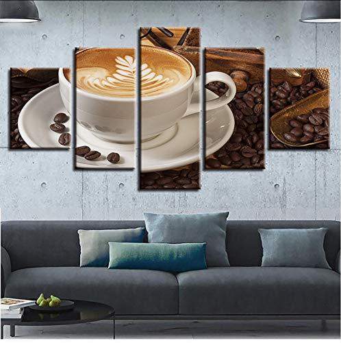 syssyj (Kein Rahmen) Modular Poster Bilder Leinwand 5 Stücke Kaffee Und Kaffeebohnen Gemälde Hd GedrucktDekor Wohnzimmer Moderne Wandkunst