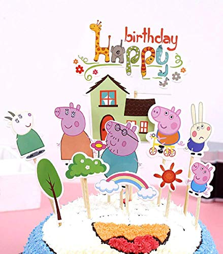 Cake & Sweet Peppa Pig Happy Birthday Kuchendekoration, 12 Stück (Peppa Pig-happy Birthday)