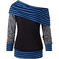 Damen Langarm Pullovershirt mit Halstuch Gestreifte Patchwork Sweatshirt Sport Outwear Bluse Off- Schulter Pulli Oberteile Pullover