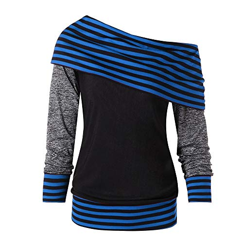 TEBAISE Herbst Winter Mode Frauen Mantel Langarmshirt Skew Neck Langarm gestreiften Patchwork Button Sweatshirt Top Karneval Fasching Tunika Bluse Mantel Pullover Tops