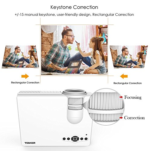 Projecteur, TENKER Q5 Portable LED Videoprojecteur Home Cinema Projecteur Soutien 1080p Multimédia Full HD VGA AV USB Carte TF pour TV PC Jeu, Blanc [Classe énergétique A+++]