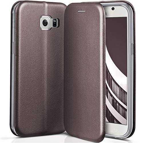 ONEFLOW Samsung Galaxy S6 | Hülle Anthrazit-Grau mit Karten-Fach 360° Business Klapp-Hülle Handytasche Kunst-Leder Handyhülle für Samsung Galaxy S6 Flip Case Cover Tasche Schutzhülle