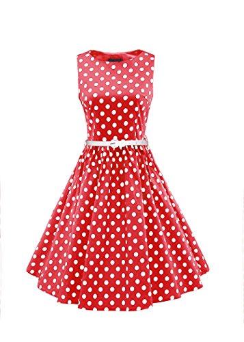 LUOUSE Damen 50s Hepburn Stil Swing Party Rockabilly Cocktailkleid,Red,L