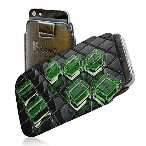 Foto Artistica 10132, Cubo, Pull Tab Texture Portafoglio Custodia Protettiva in PU Pelle Wallet Case Cover Shell Borsa Copertura Nero con Design Strutturato per Sony Xperia L.