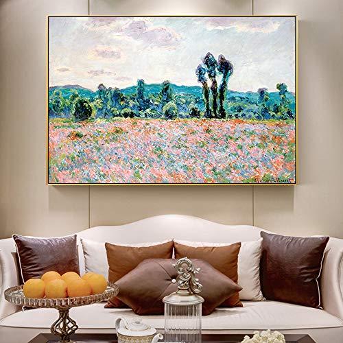 xingbu Kein RahmenPoppy Field NGS An Der Wand Von Claude Monet Impressionist Wandkunst Leinwand Reproduktion Dekorative Bilder Für Wohnzimmer 60x90 cm -
