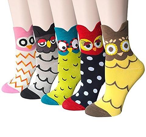 JYsense Damen Socken Einheitsgröße Gr. Einheitsgröße, Owl 5Pairs