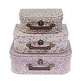 Sass & Belle Lot de 3 valises de rangement vintage Motif floral