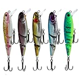 #8: Zibuyu 8Cm Jointed Lifelike Fishing Lures Dual Hook Tackle Swim Bait Wobblers