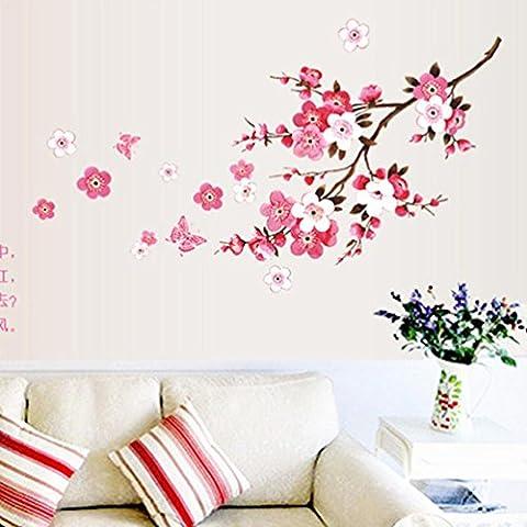 Wandtattoos, OVERMAL Abnehmbare Raum Pfirsich Blüten Blumen Schmetterlinge Wand Aufkleber Vinyl Kunst Abziehbild Dekor Wandbild