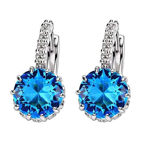 6SlonHyWomen Round Zirconia cubica intarsiato orecchini Huggie Hoop regalo gioielli piercing - azzurro