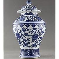 Antigüedades muy buena China pintada a mano flores azul y blanco Jarrón de porcelana (