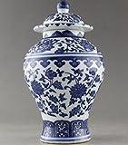 Antiquités - Très belle porcelaine de Chine - Vase en porcelaine peinte à la main avec des fleurs bleues et blanches