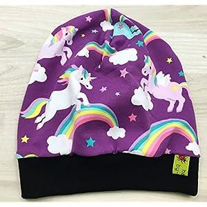 Beanie Mütze Einhörner und Ponys pink für Kopfumfang 48-53cm