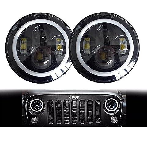Homedox Jeep Wrangler Headlights 7 Inch Round LED Headlight Conversion