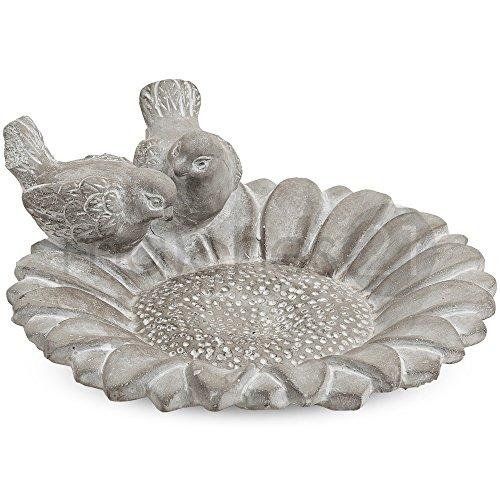 matches21 Dekorative Vogelfutter Schale / Vogeltränke aus Beton grau für Draußen 24x22x7 cm Betonschale