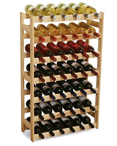 MODO24 Weinregal, Holz, unbehandelt, 63 x 25 x 102 cm, 17-Einheiten -