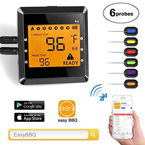 Co-existance Grillthermometer Bluetooth mit 6 Fühlern, Digitales Wireless BBQ Thermometer