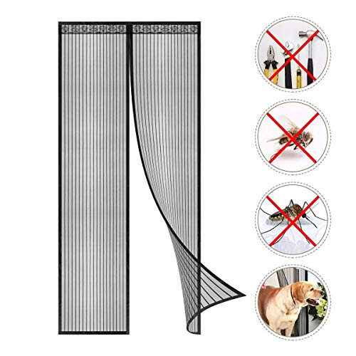 Coedou Magnet Fliegengitter Tür durch kinderleichte Klebemontage, Kinderleichte Klebemontage Ohne Bohren, Schwarz, 125x215cm(49x84inch)