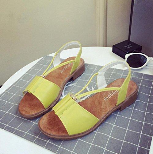 DM&Y 2017 sandali scarpe da donna Europa e diamanti perline sandali piani studenti Yellow