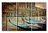 JH Lacrocon Impresiones Lienzo Italia Poster 40X80cm 3 Piezas Foto Cuadro Decoracion Canal Góndolas Venecia Imagen Pared 120X80 cm