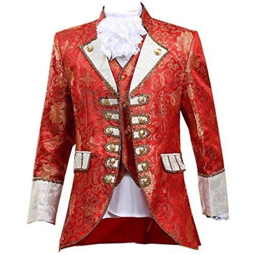 Europaeischen Mittelalter Renaissance Prinz Cosplay Kostuem Zweiteilige Set,XL,Red (Herren Prinz Kostüme)
