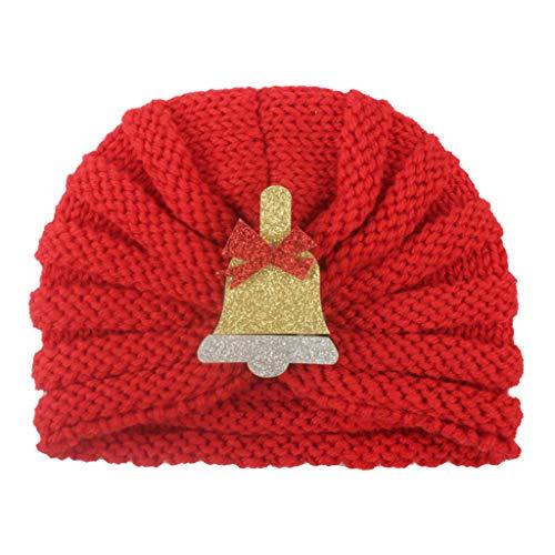 SINGOing Unisex - Baby Mütze Beanie Strickmütze Neugeborenes Baby Mädchen Wintermütze gestrickte Perlen Hut Weihnachten Beanie Headwear Cap häkeln 0-2 Jahre alt