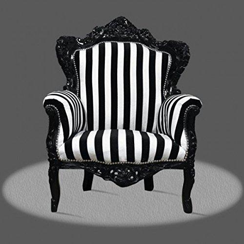 Barock Sessel Armlehner schwarz Vintage Antik Stil Rokoko schwarz Streifen antik Stil Massivholz....