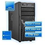 M&M Computer Multimedia Gamer PC AMD, AMD Ryzen 5 1600X CPU 6 Kerne, GTX1060 6GB Gaming Grafikkarte, 1TB SSD Festplatte, 8GB DDR4 RAM 2666MHz, Windows10 Home