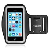 MoKo iPhone 5S Sportarmband - Sweatproof Joggen Laufen Sport Armband Handy Hülle Schutzhülle Case + Schlüsselhalter Kopfhörer Anschluss für Apple iPhone 5 / 5S / 5C / 5SE Smartphone, Schwarz