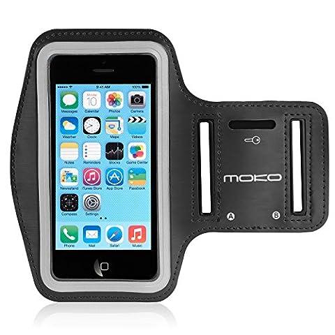 MoKo iPhone 5S Sportarmband - Sweatproof Joggen Laufen Sport Armband Handy Hülle Schutzhülle Case + Schlüsselhalter Kopfhörer Anschluss für Apple iPhone 5 / 5S / 5C / 5SE Smartphone, Schwarz - Prova Perfetta