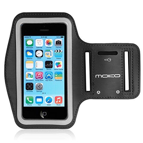 MoKo iPhone 5S Sportarmband - Sweatproof Joggen Laufen Sport Armband Handy Hülle Schutzhülle Case + Schlüsselhalter Kopfhörer Anschluss für Apple iPhone 5 / 5S / 5C / 5SE Smartphone, Schwarz (Wasserdichte Samsung Galaxy S4 Fall)