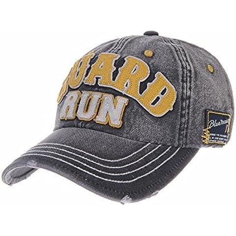 WITHMOONS Gorras de béisbol gorra de Trucker sombrero de Vintage Patch Washed Denim Baseball Cap Adjustable Trucker Hat
