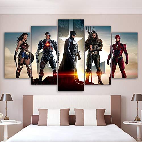LAKHAFZY Leinwand Wandkunst Poster Hd Gedruckt Bilder 5 Stücke Film Wonder Woman Malerei Wohnkultur Für Wohnzimmer Frameless (Wonder Woman Blatt)