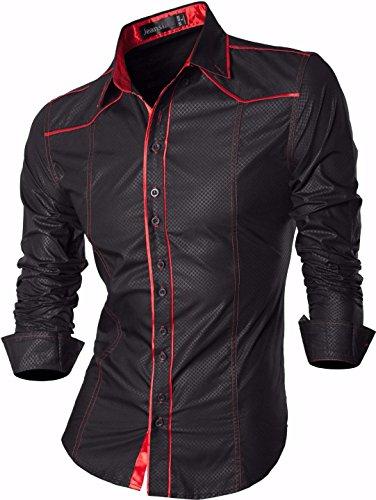 jeansian Herren Freizeit Hemden Shirt Tops Mode Langarmshirts Slim Fit 8397 Z034_Black