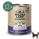 Wildes Land | Nassfutter für Hunde | Nr. 7 Wild | 12 x 800 g | mit Kürbis, Preiselbeeren, Wildkräutern & Distelöl | Glutenfrei | Extra viel Fleisch | Beste Akzeptanz und Verträglichkeit