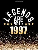 Legends Are Born in 1997: Birthday Notebook/Journal for Writing 100 Lined Pages, Year 1997 Birthday Gift, Keepsake Book (Gold & Black)