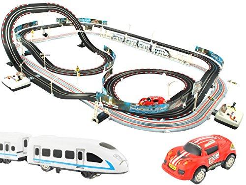 Rennbahn Eisenbahn Autorennbahn inkl. Auto Lok mit Waggons 115 Elemente #2937