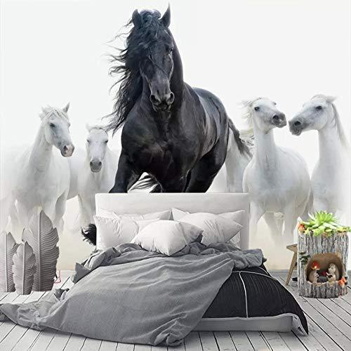 Carta da parati personalizzata con foto 3D Arte moderna Cavallo bianco nero TV Sfondo Carta da parati Murale Soggiorno Camera da letto Home Decor