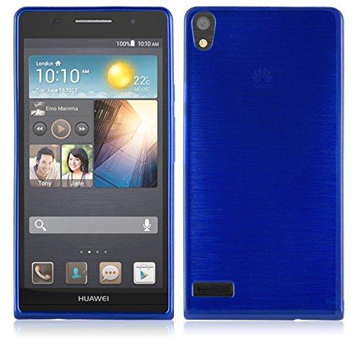 Cadorabo - Silikon TPU Schutzhülle für Huawei Ascend P6 Hülle Case Cover in Edelstahl-Optik gebürstet (brushed) in BLAU