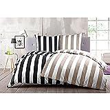 YES FOR BED Bettbezug »Big Stripe« in Schwarz/Weiß Größe: 1 x 200 x 200 cm Mako-Satin, 100% Baumwolle
