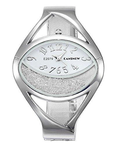 JSDDE Uhren Damen Armbanduhr Chic Manschette Halbmond Strass Damenuhr Spangenuhr Armreifen Quarzuhr Silber Weiß