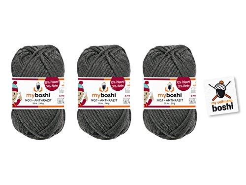 3er Set myboshi Wolle zum Häkeln oder Stricken (anthrazit) – pflegeleicht und waschbar