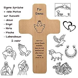 Holzkreuz mit individueller Gravur – personalisiert mit Name, Spruch, Motiv – Holz Kruzifix als Geschenk zur Geburt, Taufe, Kommunion, Firmung – Kreuz für Kinder und Erwachsene