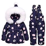 I più nuovi vestiti delle ragazze dei bambini regolano l'inverno incappucciato dell'anatra giù il rivestimento + pantaloni impermeabile tuta sportiva dei vestiti dei bambini caldi (24M, Dark blue)