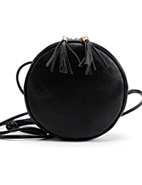 Tongshi Mujeres de la muchacha redonda bolso de cuero bolso Messenger